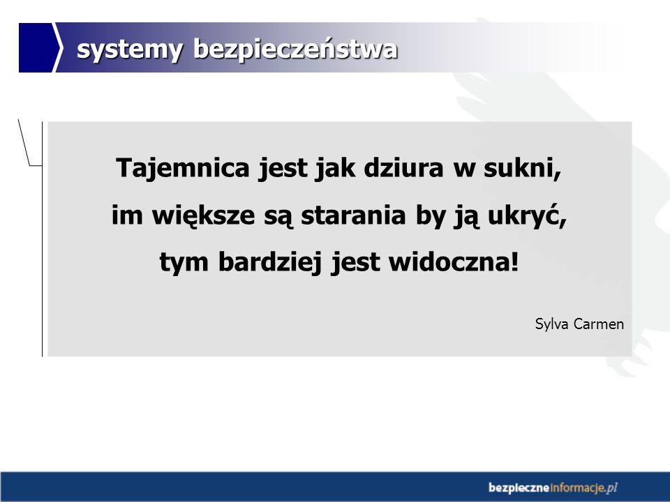 systemy bezpieczeństwa Tajemnica jest jak dziura w sukni, im większe są starania by ją ukryć, tym bardziej jest widoczna.