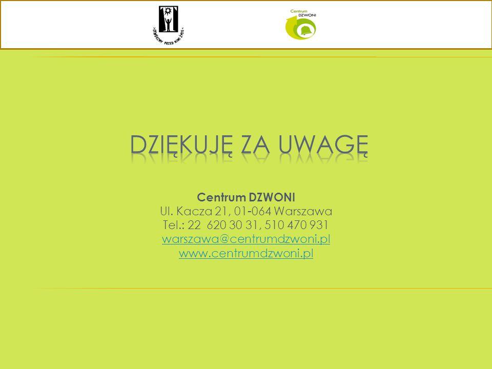 Centrum DZWONI Ul. Kacza 21, 01-064 Warszawa Tel.: 22 620 30 31, 510 470 931 warszawa@centrumdzwoni.pl www.centrumdzwoni.pl