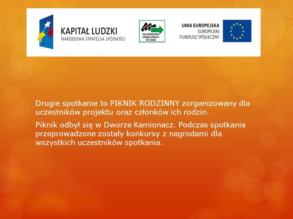 Drugie spotkanie to PIKNIK RODZINNY zorganizowany dla uczestników projektu oraz członków ich rodzin. Piknik odbył się w Dworze Kamionacz. Podczas spot