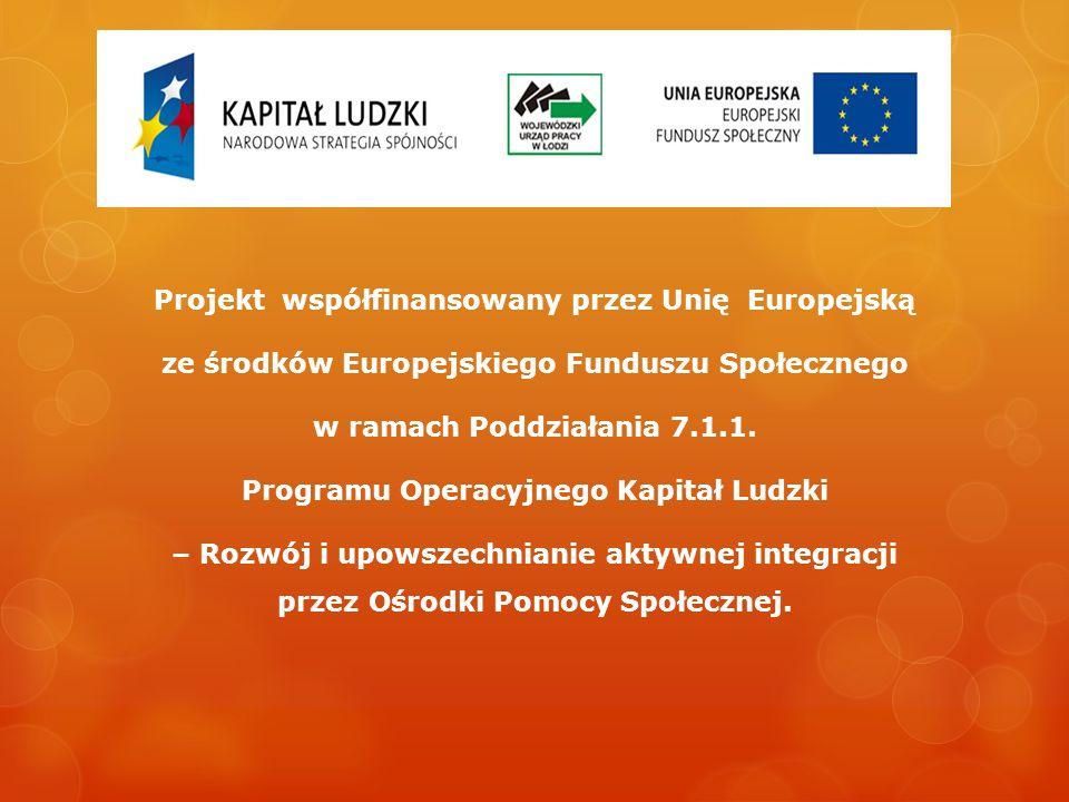 Projekt współfinansowany przez Unię Europejską ze środków Europejskiego Funduszu Społecznego w ramach Poddziałania 7.1.1. Programu Operacyjnego Kapita