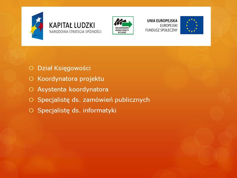 Dział Księgowości Koordynatora projektu Asystenta koordynatora Specjalistę ds. zamówień publicznych Specjalistę ds. informatyki