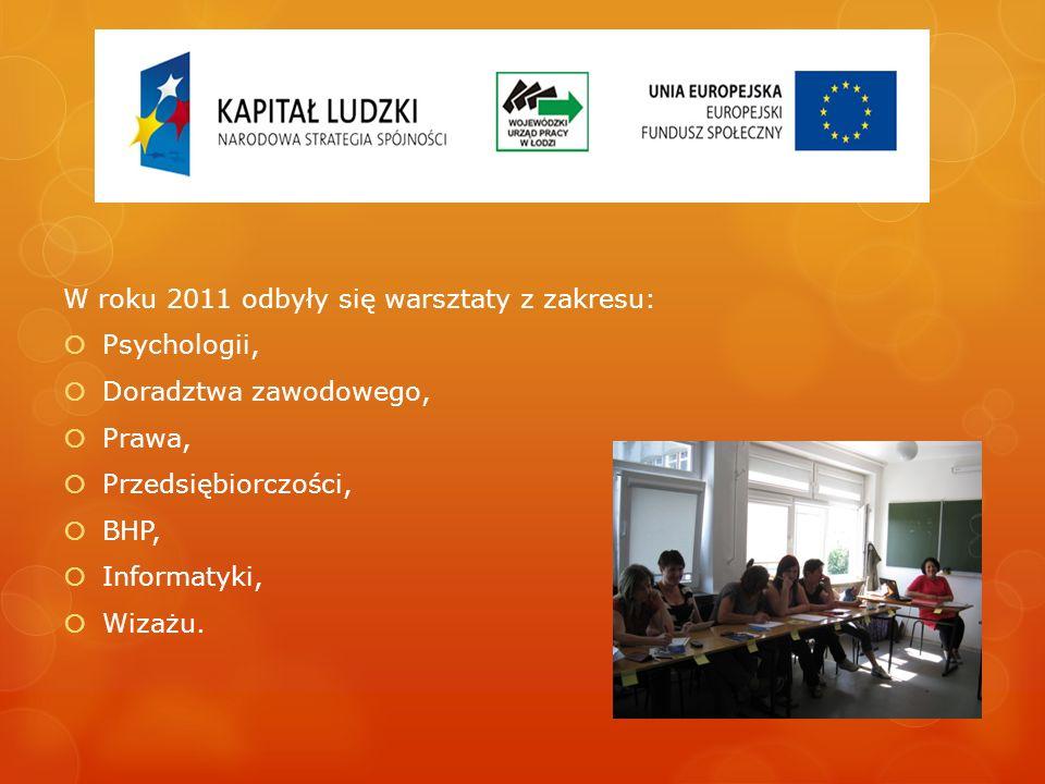 W roku 2011 odbyły się warsztaty z zakresu: Psychologii, Doradztwa zawodowego, Prawa, Przedsiębiorczości, BHP, Informatyki, Wizażu.