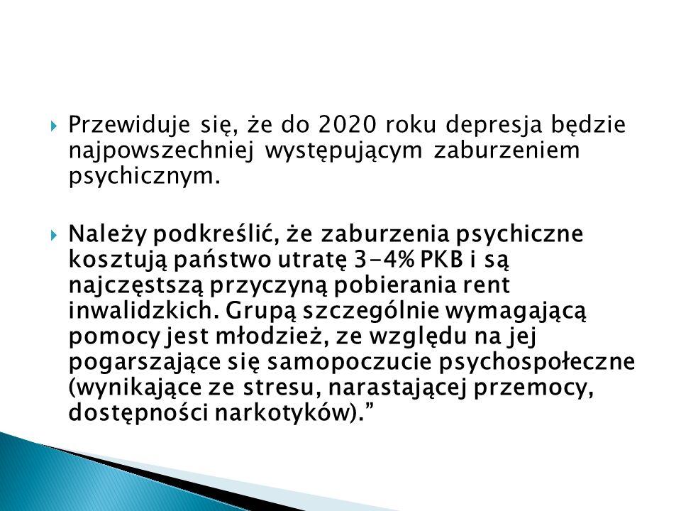 Przewiduje się, że do 2020 roku depresja będzie najpowszechniej występującym zaburzeniem psychicznym. Należy podkreślić, że zaburzenia psychiczne kosz