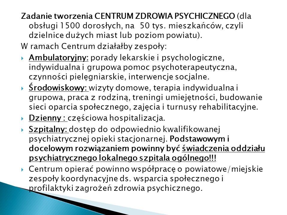 Zadanie tworzenia CENTRUM ZDROWIA PSYCHICZNEGO (dla obsługi 1500 dorosłych, na 50 tys.