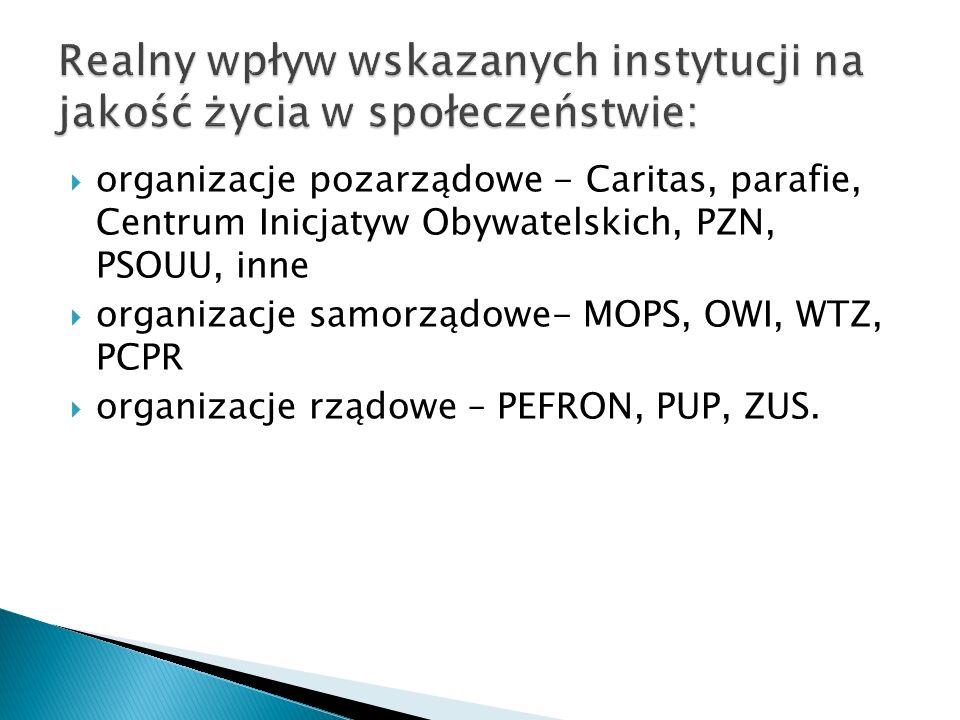 organizacje pozarządowe - Caritas, parafie, Centrum Inicjatyw Obywatelskich, PZN, PSOUU, inne organizacje samorządowe- MOPS, OWI, WTZ, PCPR organizacje rządowe – PEFRON, PUP, ZUS.