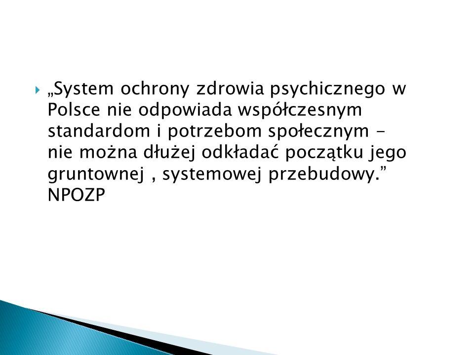 System ochrony zdrowia psychicznego w Polsce nie odpowiada współczesnym standardom i potrzebom społecznym - nie można dłużej odkładać początku jego gr