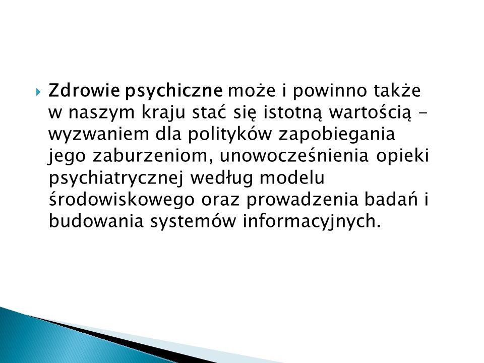 Psychiatria środowiskowa to zapewnienie osobom z zaburzeniami psychicznymi wielostronnej, zintegrowanej i dostępnej opieki zdrowotnej oraz innych form pomocy niezbędnych do życia w środowisku społecznym, w tym rodzinnym, zawodowym.