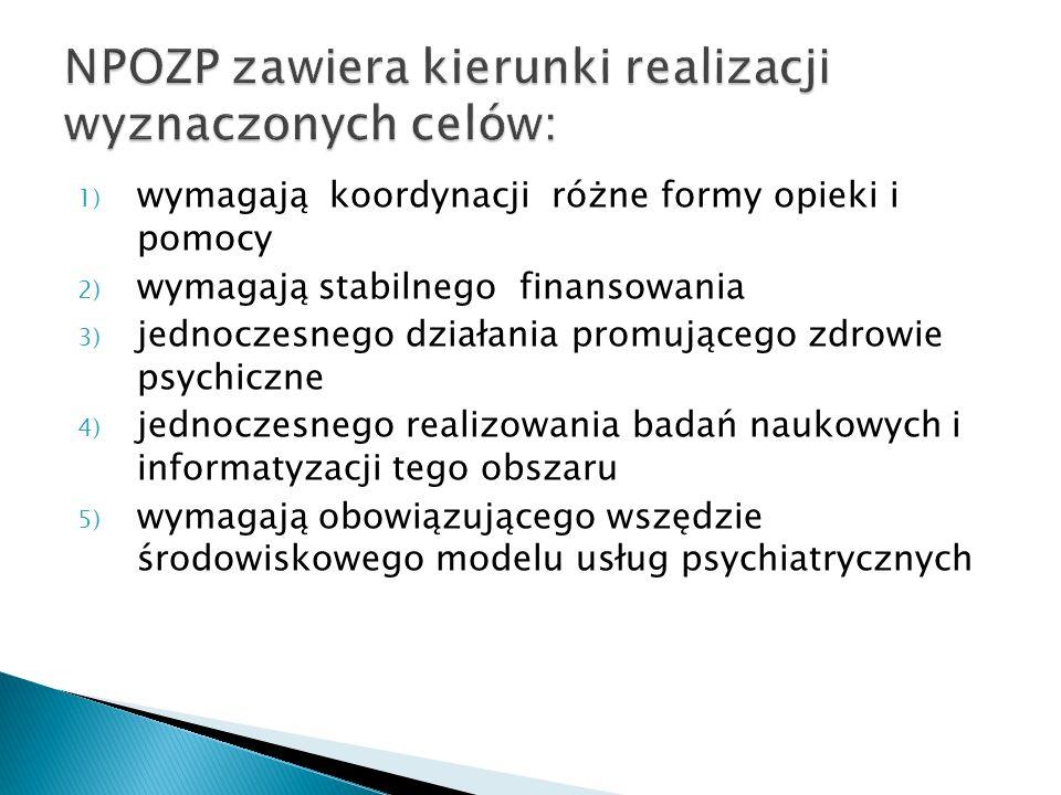 1) wymagają koordynacji różne formy opieki i pomocy 2) wymagają stabilnego finansowania 3) jednoczesnego działania promującego zdrowie psychiczne 4) j