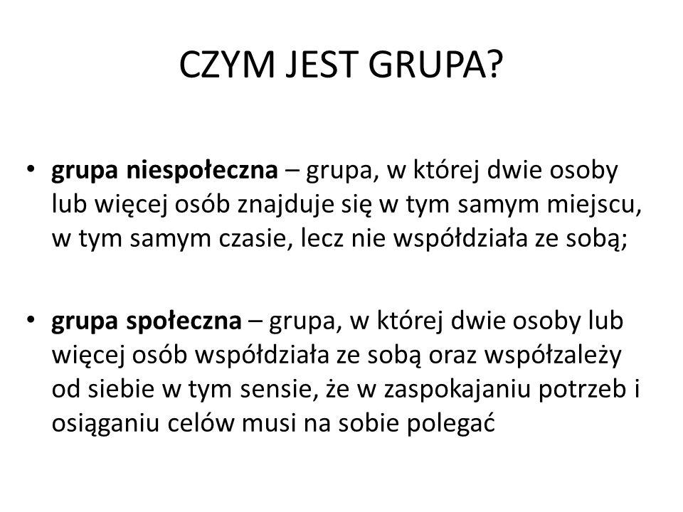 CZYM JEST GRUPA? grupa niespołeczna – grupa, w której dwie osoby lub więcej osób znajduje się w tym samym miejscu, w tym samym czasie, lecz nie współd