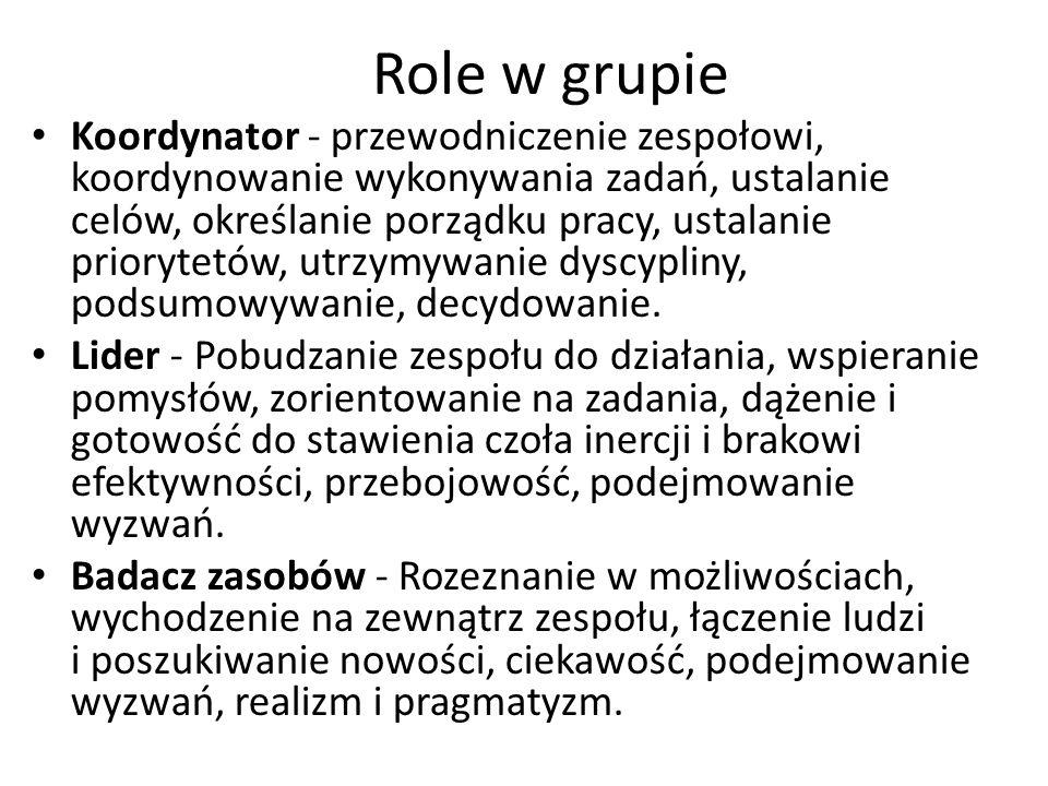 Role w grupie Koordynator - przewodniczenie zespołowi, koordynowanie wykonywania zadań, ustalanie celów, określanie porządku pracy, ustalanie prioryte