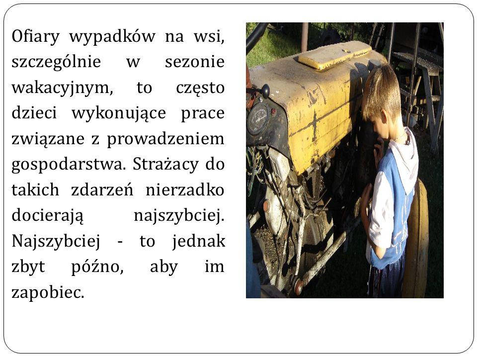Ofiary wypadków na wsi, szczególnie w sezonie wakacyjnym, to często dzieci wykonujące prace związane z prowadzeniem gospodarstwa. Strażacy do takich z