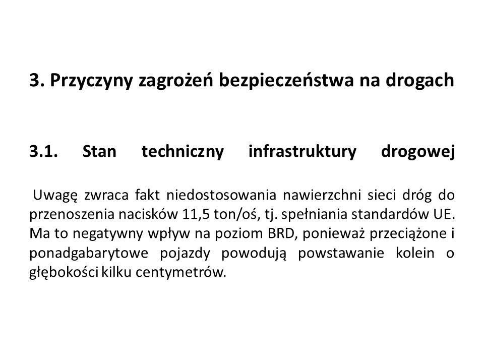 3. Przyczyny zagrożeń bezpieczeństwa na drogach ….. 3.1. Stan techniczny infrastruktury drogowej ……………… Uwagę zwraca fakt niedostosowania nawierzchni