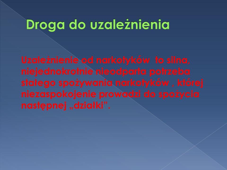 Uzależnienie od narkotyków to silna, niejednokrotnie nieodparta potrzeba stałego spożywania narkotyków, której niezaspokojenie prowadzi do spożycia następnej działki.