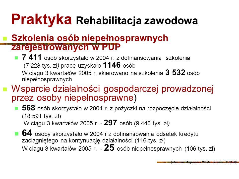 Praktyka Rehabilitacja zawodowa Szkolenia osób niepełnosprawnych zarejestrowanych w PUP 7 411 osób skorzystało w 2004 r. z dofinansowania szkolenia (7