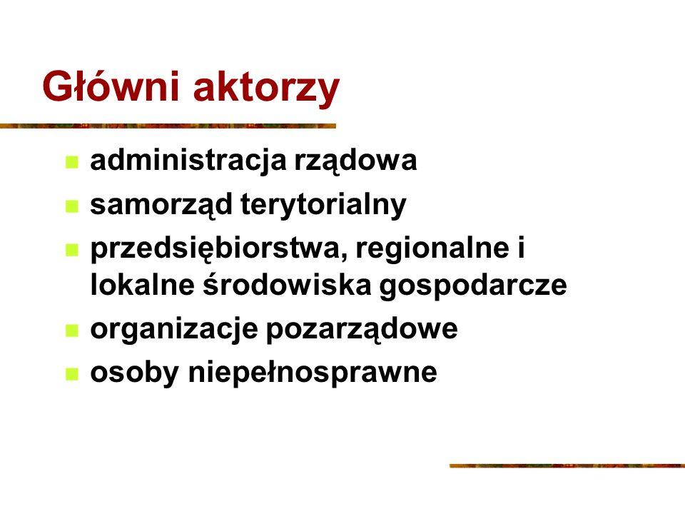 Główni aktorzy administracja rządowa samorząd terytorialny przedsiębiorstwa, regionalne i lokalne środowiska gospodarcze organizacje pozarządowe osoby