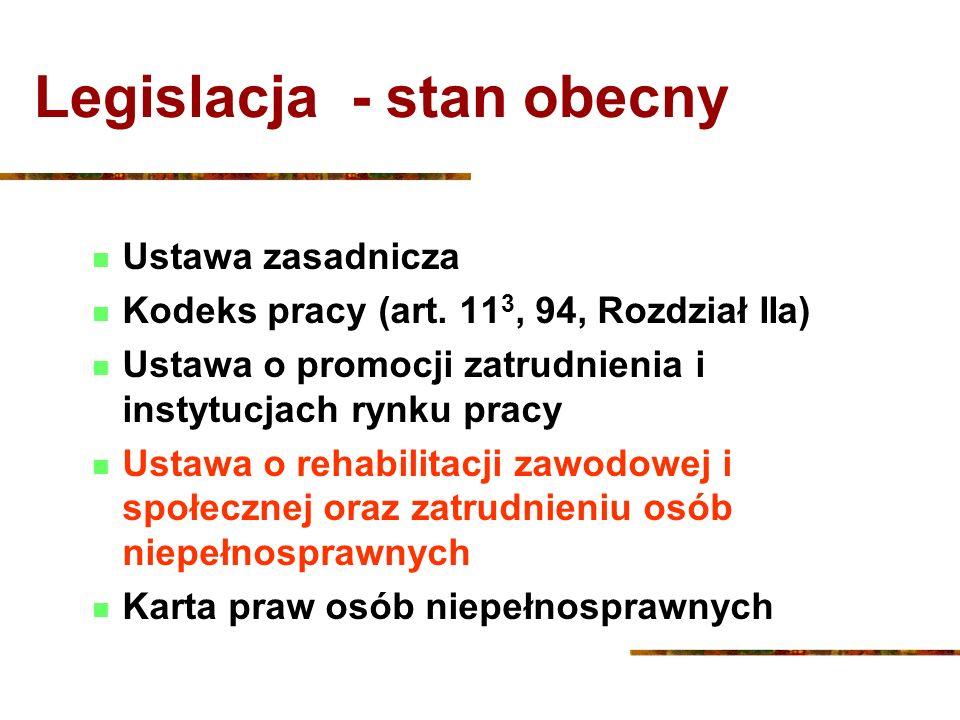 Legislacja - stan obecny Ustawa zasadnicza Kodeks pracy (art. 11 3, 94, Rozdział IIa) Ustawa o promocji zatrudnienia i instytucjach rynku pracy Ustawa
