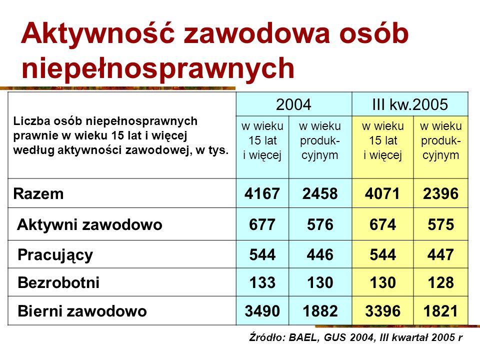 Praktyka Rehabilitacja zawodowa Szkolenia osób niepełnosprawnych zarejestrowanych w PUP 7 411 osób skorzystało w 2004 r.