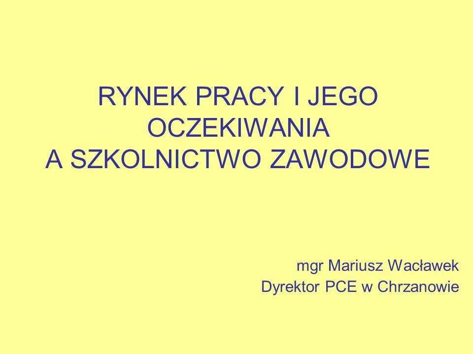 RYNEK PRACY I JEGO OCZEKIWANIA A SZKOLNICTWO ZAWODOWE mgr Mariusz Wacławek Dyrektor PCE w Chrzanowie