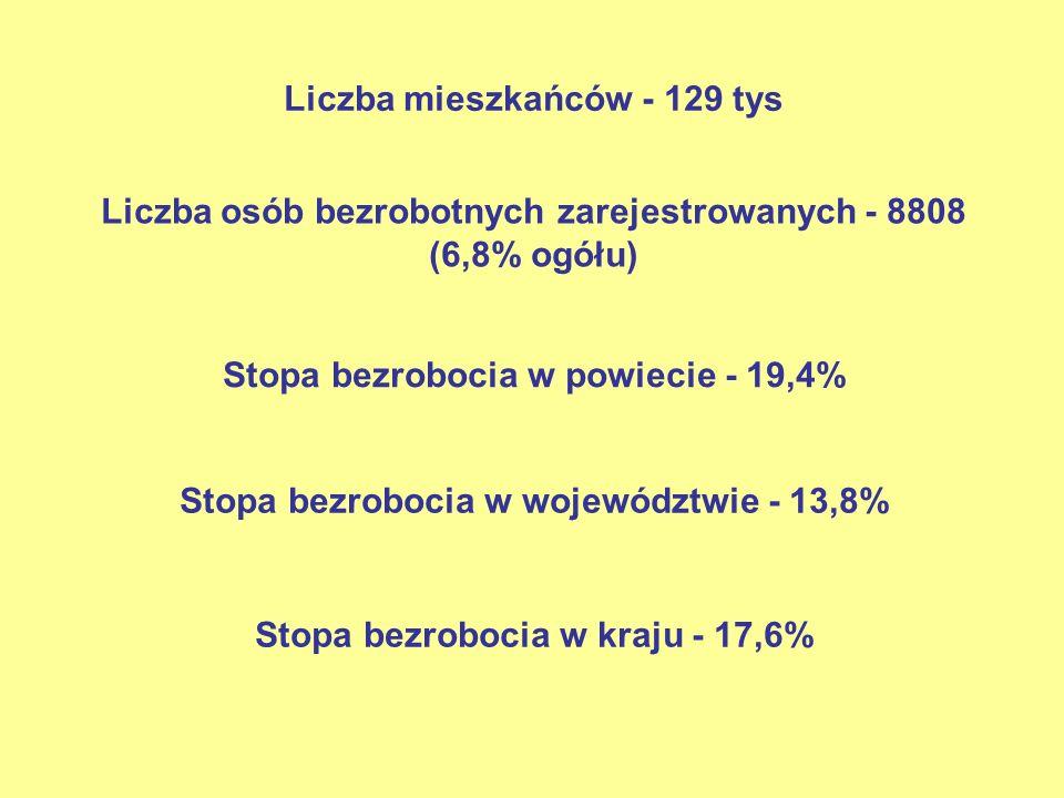 Liczba mieszkańców - 129 tys Liczba osób bezrobotnych zarejestrowanych - 8808 (6,8% ogółu) Stopa bezrobocia w powiecie - 19,4% Stopa bezrobocia w woje