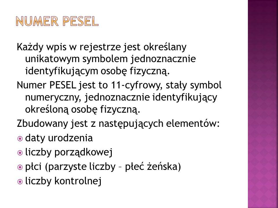 Każdy wpis w rejestrze jest określany unikatowym symbolem jednoznacznie identyfikującym osobę fizyczną. Numer PESEL jest to 11-cyfrowy, stały symbol n