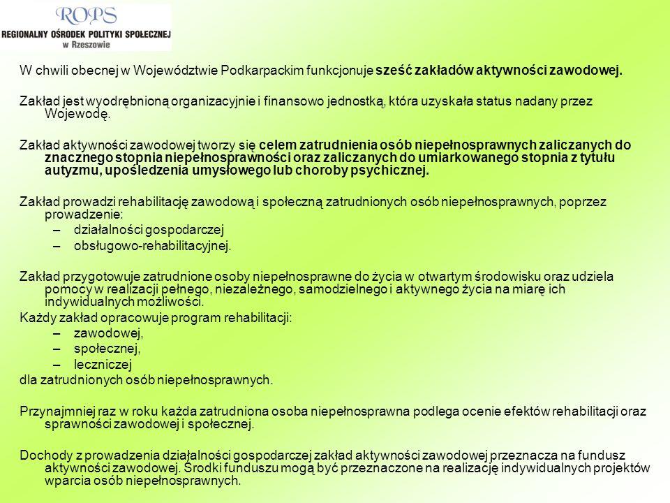 W chwili obecnej w Województwie Podkarpackim funkcjonuje sześć zakładów aktywności zawodowej. Zakład jest wyodrębnioną organizacyjnie i finansowo jedn