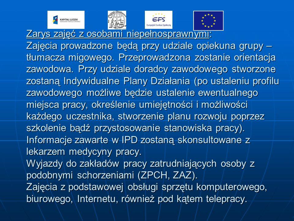 Zarys zajęć z osobami niepełnosprawnymi: Zajęcia prowadzone będą przy udziale opiekuna grupy – tłumacza migowego.