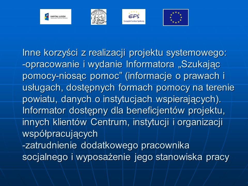 Inne korzyści z realizacji projektu systemowego: -opracowanie i wydanie Informatora Szukając pomocy-niosąc pomoc (informacje o prawach i usługach, dostępnych formach pomocy na terenie powiatu, danych o instytucjach wspierających).