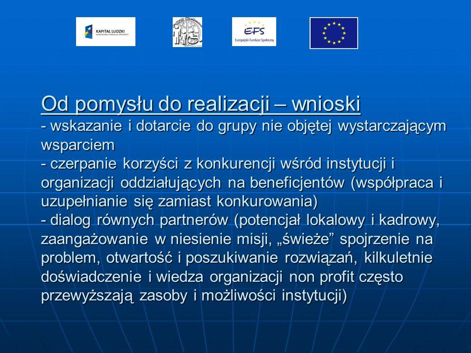 Od pomysłu do realizacji – wnioski - wskazanie i dotarcie do grupy nie objętej wystarczającym wsparciem - czerpanie korzyści z konkurencji wśród instytucji i organizacji oddziałujących na beneficjentów (współpraca i uzupełnianie się zamiast konkurowania) - dialog równych partnerów (potencjał lokalowy i kadrowy, zaangażowanie w niesienie misji, świeże spojrzenie na problem, otwartość i poszukiwanie rozwiązań, kilkuletnie doświadczenie i wiedza organizacji non profit często przewyższają zasoby i możliwości instytucji)