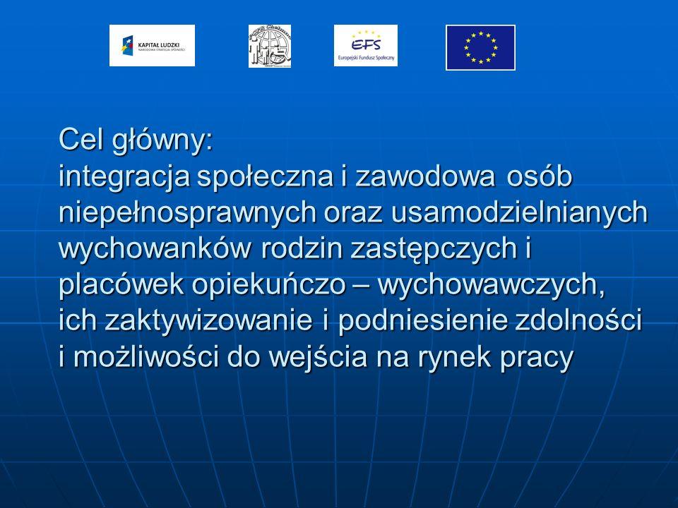 Cele szczegółowe: - zmniejszenie izolacji oraz marginalizacji społecznej osób niepełnosprawnych - zwiększenie motywacji do podjęcia zatrudnienia - wzrost świadomości o przysługujących prawach i związanych z tym możliwościami - wzrost pewności siebie oraz umiejętności komunikowania się z otoczeniem uczestników projektu - nabycie nowych umiejętności niezbędnych do poruszania się na rynku pracy