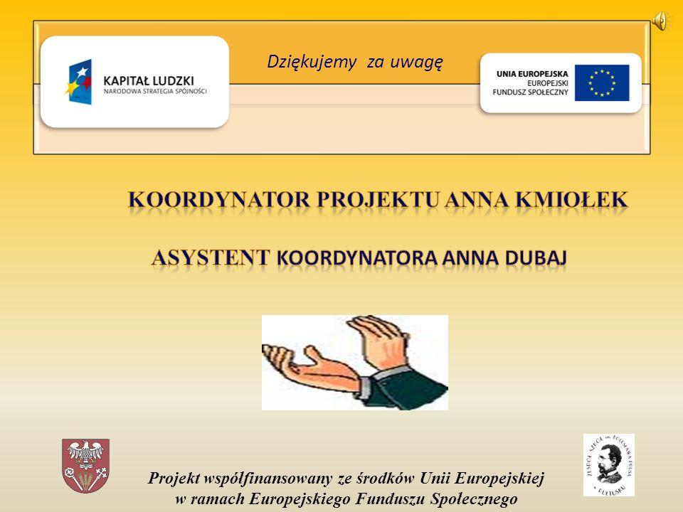 Projekt współfinansowany ze środków Unii Europejskiej w ramach Europejskiego Funduszu Społecznego Dziękujemy za uwagę
