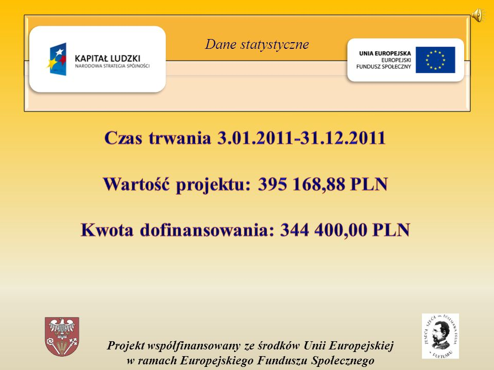 Projekt współfinansowany ze środków Unii Europejskiej w ramach Europejskiego Funduszu Społecznego Dane statystyczne