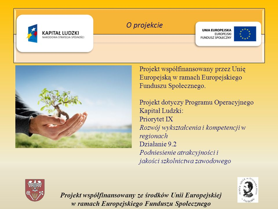 Projekt współfinansowany ze środków Unii Europejskiej w ramach Europejskiego Funduszu Społecznego Projekt współfinansowany przez Unię Europejską w ramach Europejskiego Funduszu Społecznego.