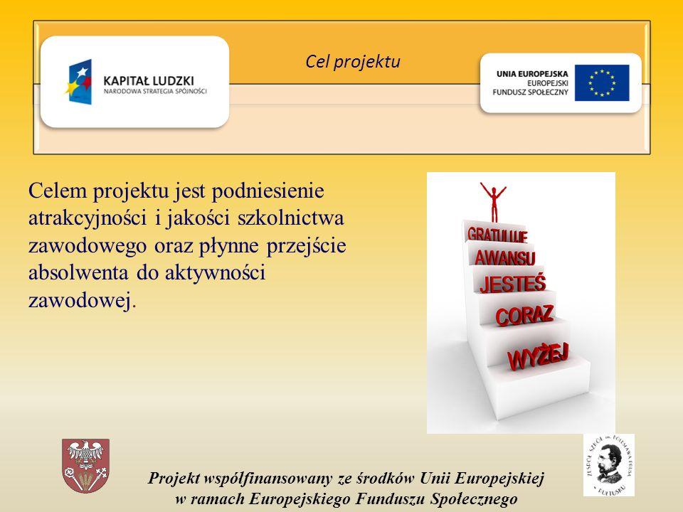 Projekt współfinansowany ze środków Unii Europejskiej w ramach Europejskiego Funduszu Społecznego Celem projektu jest podniesienie atrakcyjności i jakości szkolnictwa zawodowego oraz płynne przejście absolwenta do aktywności zawodowej.