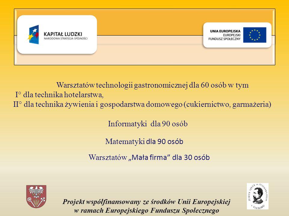 Projekt współfinansowany ze środków Unii Europejskiej w ramach Europejskiego Funduszu Społecznego Warsztatów technologii gastronomicznej dla 60 osób w tym I° dla technika hotelarstwa, II° dla technika żywienia i gospodarstwa domowego (cukiernictwo, garmażeria) Informatyki dla 90 osób Matematyki dla 90 osób Warsztatów Mała firma dla 30 osób