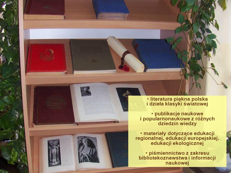 literatura piękna polska i dzieła klasyki światowej publikacje naukowe i popularnonaukowe z różnych dziedzin wiedzy materiały dotyczące edukacji regio