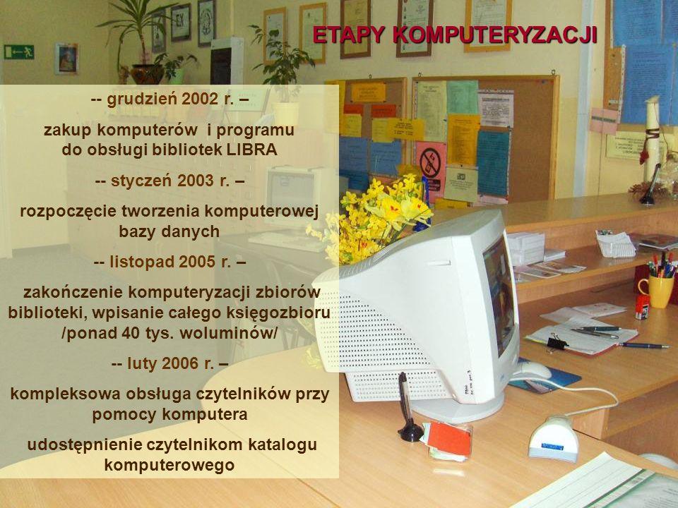 ETAPY KOMPUTERYZACJI -- grudzień 2002 r. – zakup komputerów i programu do obsługi bibliotek LIBRA -- styczeń 2003 r. – rozpoczęcie tworzenia komputero