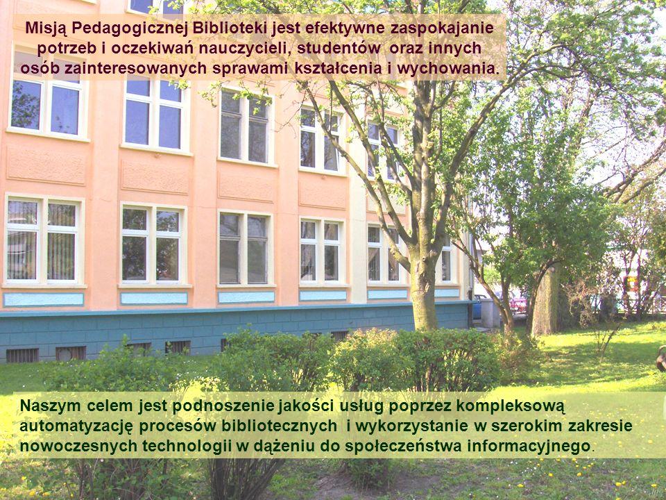 . Misją Pedagogicznej Biblioteki jest efektywne zaspokajanie potrzeb i oczekiwań nauczycieli, studentów oraz innych osób zainteresowanych sprawami ksz