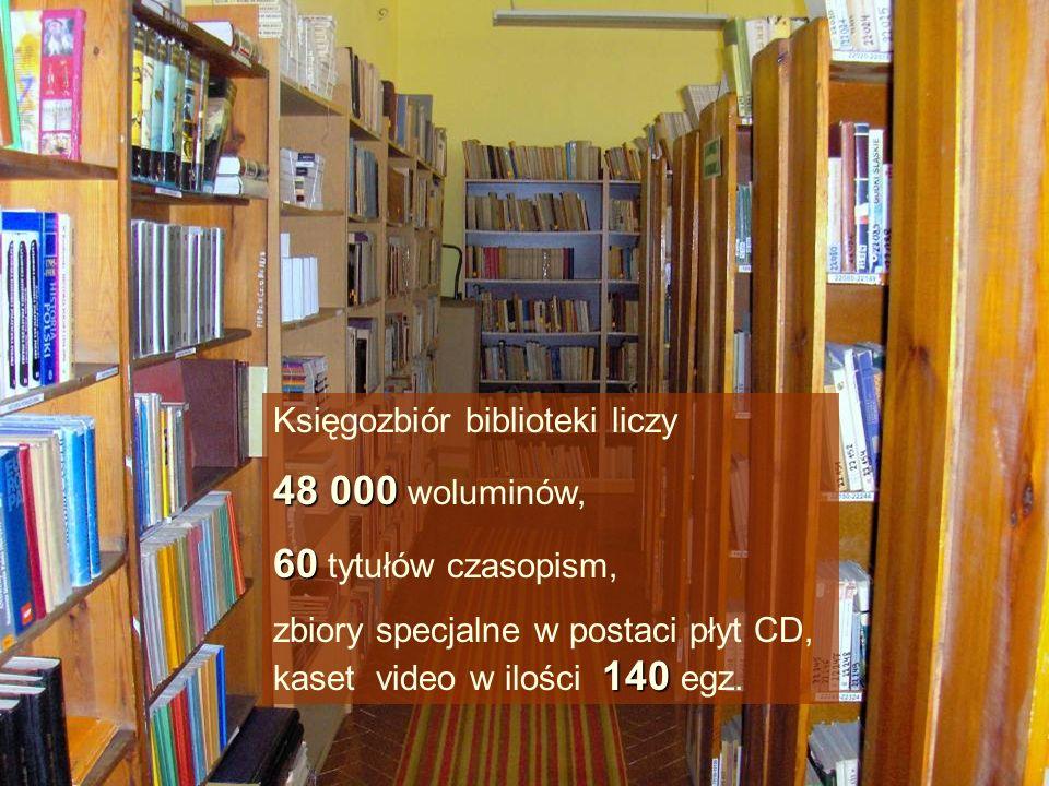 Księgozbiór biblioteki liczy 48 000 48 000 woluminów, 60 60 tytułów czasopism, 140 zbiory specjalne w postaci płyt CD, kaset video w ilości 140 egz.