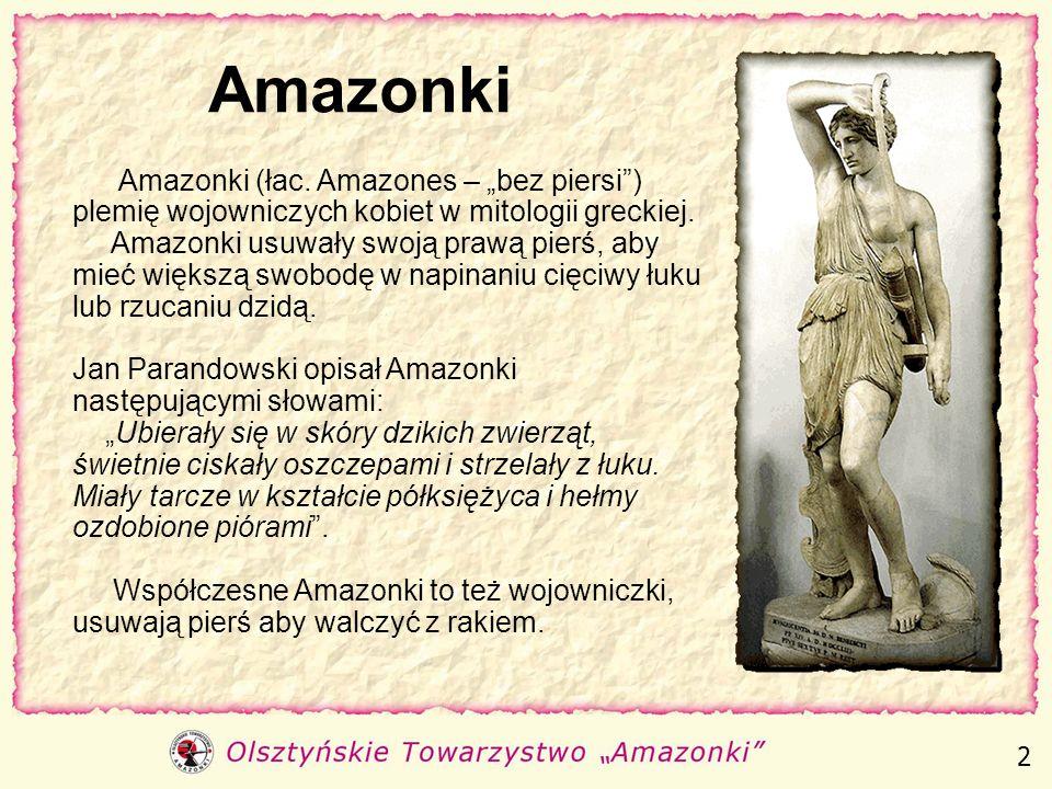 Olsztyńskie Towarzystwo Amazonki Na miły Bóg, życie nie tylko po to jest, by brać, Życie nie po to by bezczynnie trwać, I aby żyć, siebie samego trzeb