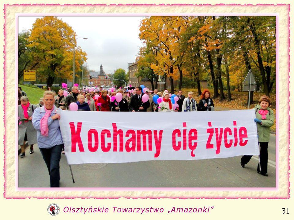 Od 10 lat w październiku - miesiącu walki z nowotworem piersi, we współpracy z Urzędem Miasta, organizujemy pod hasłem Kochamy Cię Życie. 30