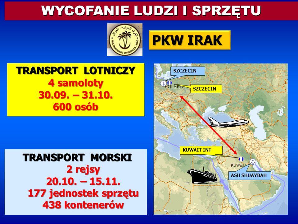TRANSPORT LOTNICZY 4 samoloty 30.09. – 31.10. 600 osób TRANSPORT MORSKI 2 rejsy 20.10. – 15.11. 177 jednostek sprzętu 438 kontenerów WYCOFANIE LUDZI I