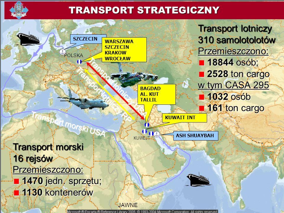 1/2 5 POLSKA KUWEJT SZCZECIN ASH SHUAYBAH KUWAIT INT BAGDAD AL. KUT TALLIL WARSZAWA SZCZECIN KRAKOW WROCŁAW Transport morski USA Transport lotniczy RP