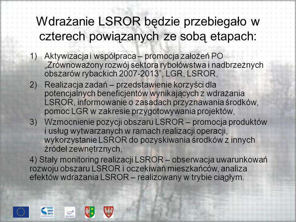 Wdrażanie LSROR będzie przebiegało w czterech powiązanych ze sobą etapach: 1)Aktywizacja i współpraca – promocja założeń PO Zrównoważony rozwój sektora rybołówstwa i nadbrzeżnych obszarów rybackich 2007-2013, LGR, LSROR, 2)Realizacja zadań – przedstawienie korzyści dla potencjalnych beneficjentów wynikających z wdrażania LSROR, informowanie o zasadach przyznawania środków, pomoc LGR w zakresie przygotowywania projektów, 3)Wzmocnienie pozycji obszaru LSROR – promocja produktów i usług wytwarzanych w ramach realizacji operacji, wykorzystanie LSROR do pozyskiwania środków z innych źródeł zewnętrznych, 4) Stały monitoring realizacji LSROR – obserwacja uwarunkowań rozwoju obszaru LSROR i oczekiwań mieszkańców, analiza efektów wdrażania LSROR – realizowany w trybie ciągłym.