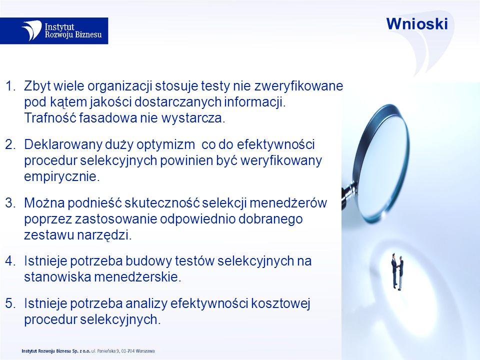Wnioski 1.Zbyt wiele organizacji stosuje testy nie zweryfikowane pod kątem jakości dostarczanych informacji. Trafność fasadowa nie wystarcza. 2.Deklar