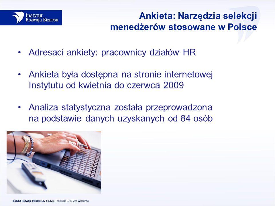 Ankieta: Narzędzia selekcji menedżerów stosowane w Polsce Adresaci ankiety: pracownicy działów HR Ankieta była dostępna na stronie internetowej Instyt