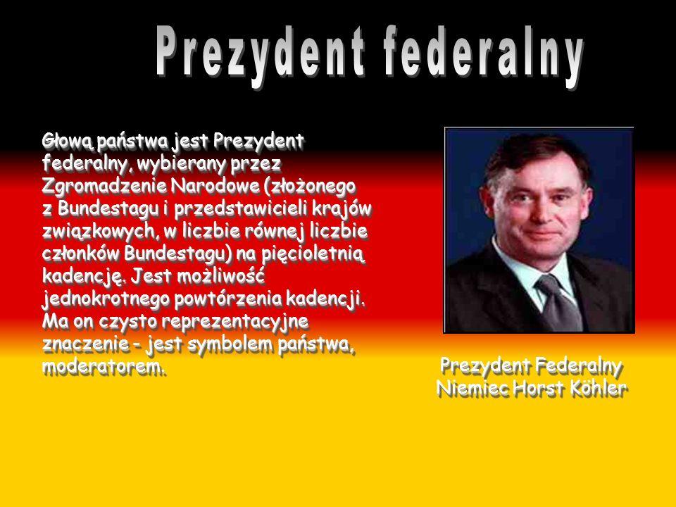 Głową państwa jest Prezydent federalny, wybierany przez Zgromadzenie Narodowe (złożonego z Bundestagu i przedstawicieli krajów związkowych, w liczbie