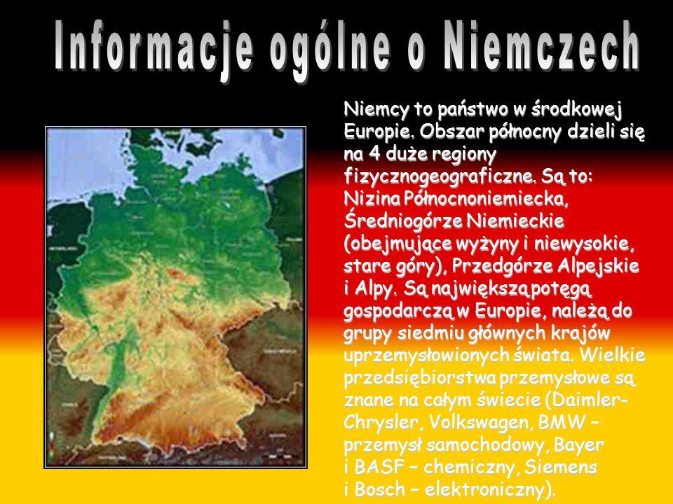 Niemcy to państwo w środkowej Europie. Obszar północny dzieli się na 4 duże regiony fizycznogeograficzne. Są to: Nizina Północnoniemiecka, Średniogórz
