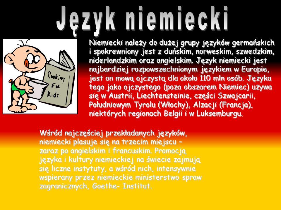 Niemiecki należy do dużej grupy języków germańskich i spokrewniony jest z duńskim, norweskim, szwedzkim, niderlandzkim oraz angielskim. Język niemieck