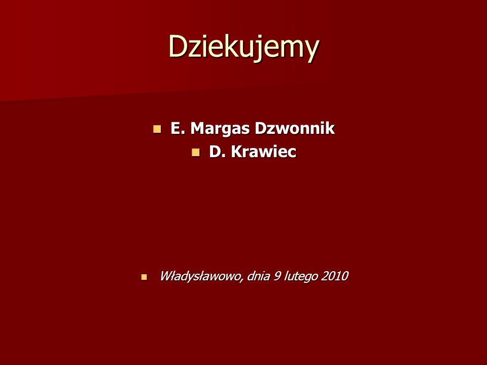 Dziekujemy E. Margas Dzwonnik E. Margas Dzwonnik D. Krawiec D. Krawiec Władysławowo, dnia 9 lutego 2010 Władysławowo, dnia 9 lutego 2010