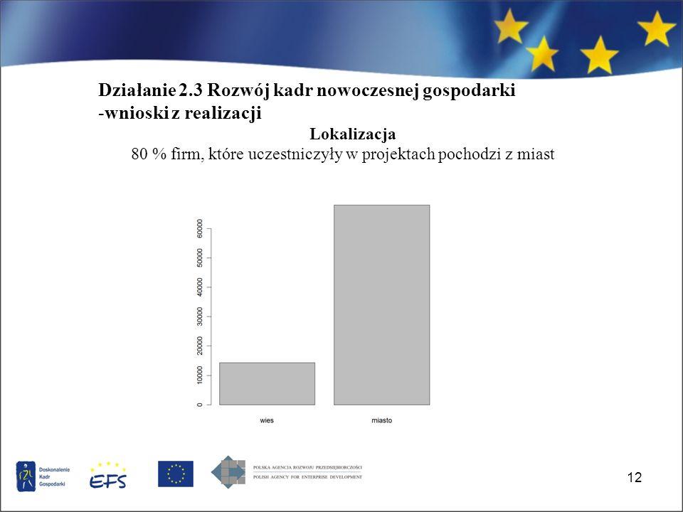 12 Działanie 2.3 Rozwój kadr nowoczesnej gospodarki -wnioski z realizacji Lokalizacja 80 % firm, które uczestniczyły w projektach pochodzi z miast